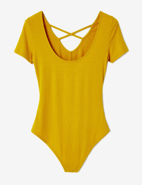 Ochre V-neck bodysuit with strap detail