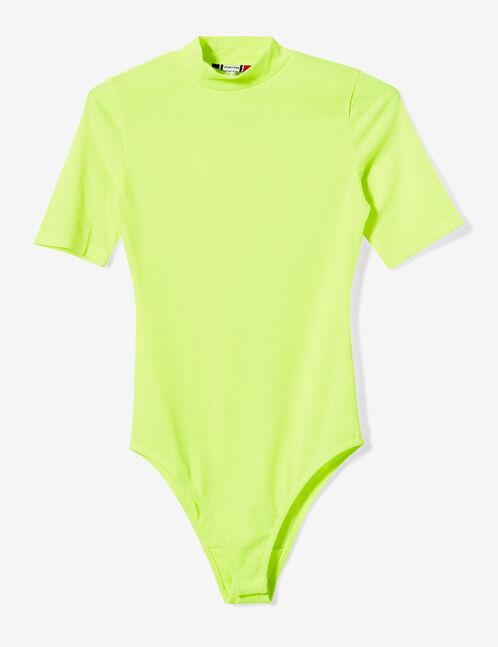 body maille côtelée jaune fluo