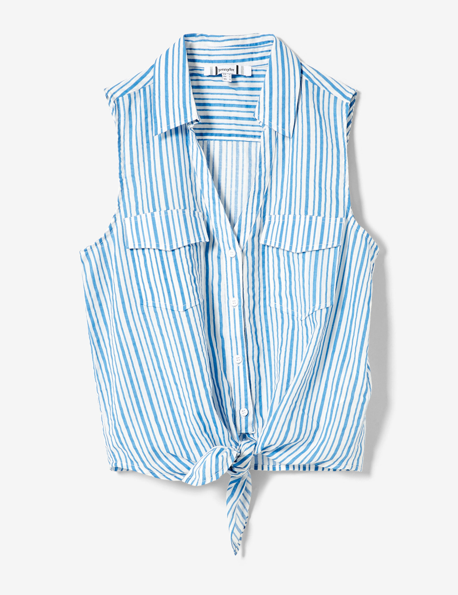 Blue and white striped sleeveless blouse