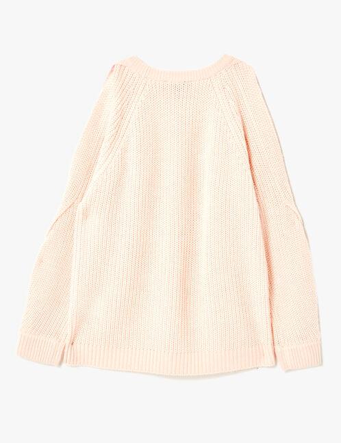 Light pink open-sleeve jumper