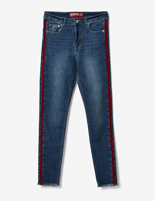 Medium blue and red jeans with side stripe detail