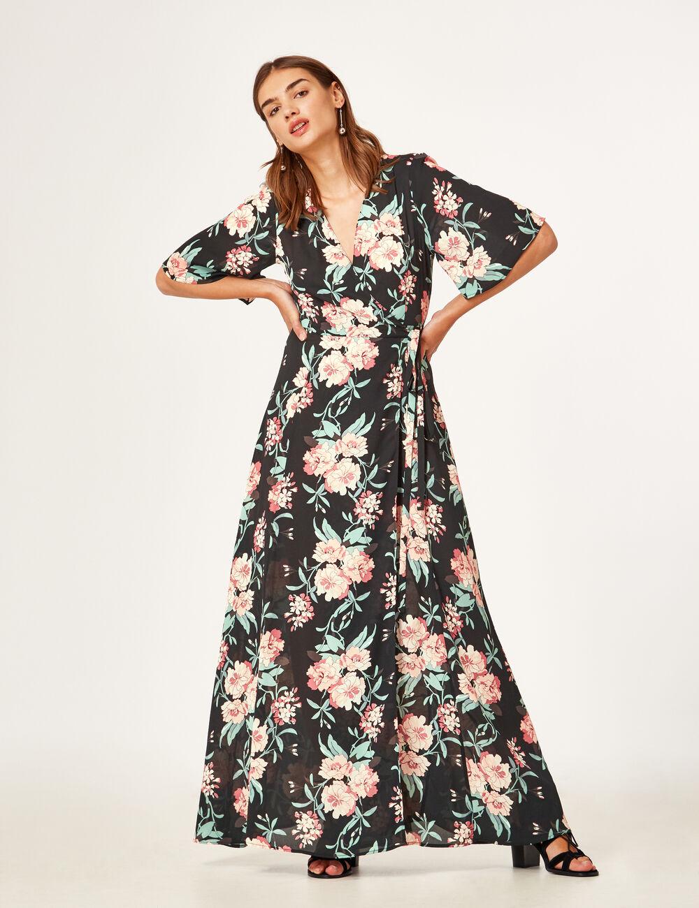 robe longue fleurie noire femme jennyfer. Black Bedroom Furniture Sets. Home Design Ideas