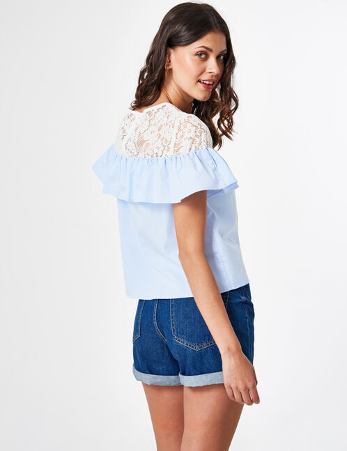 Light blue and cream mixed fabric blouse