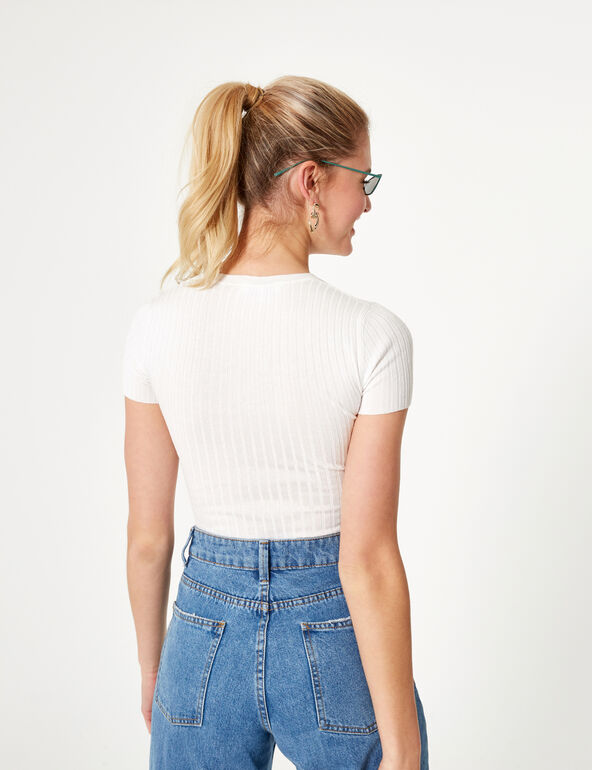 Cropped cream short-sleeved jumper
