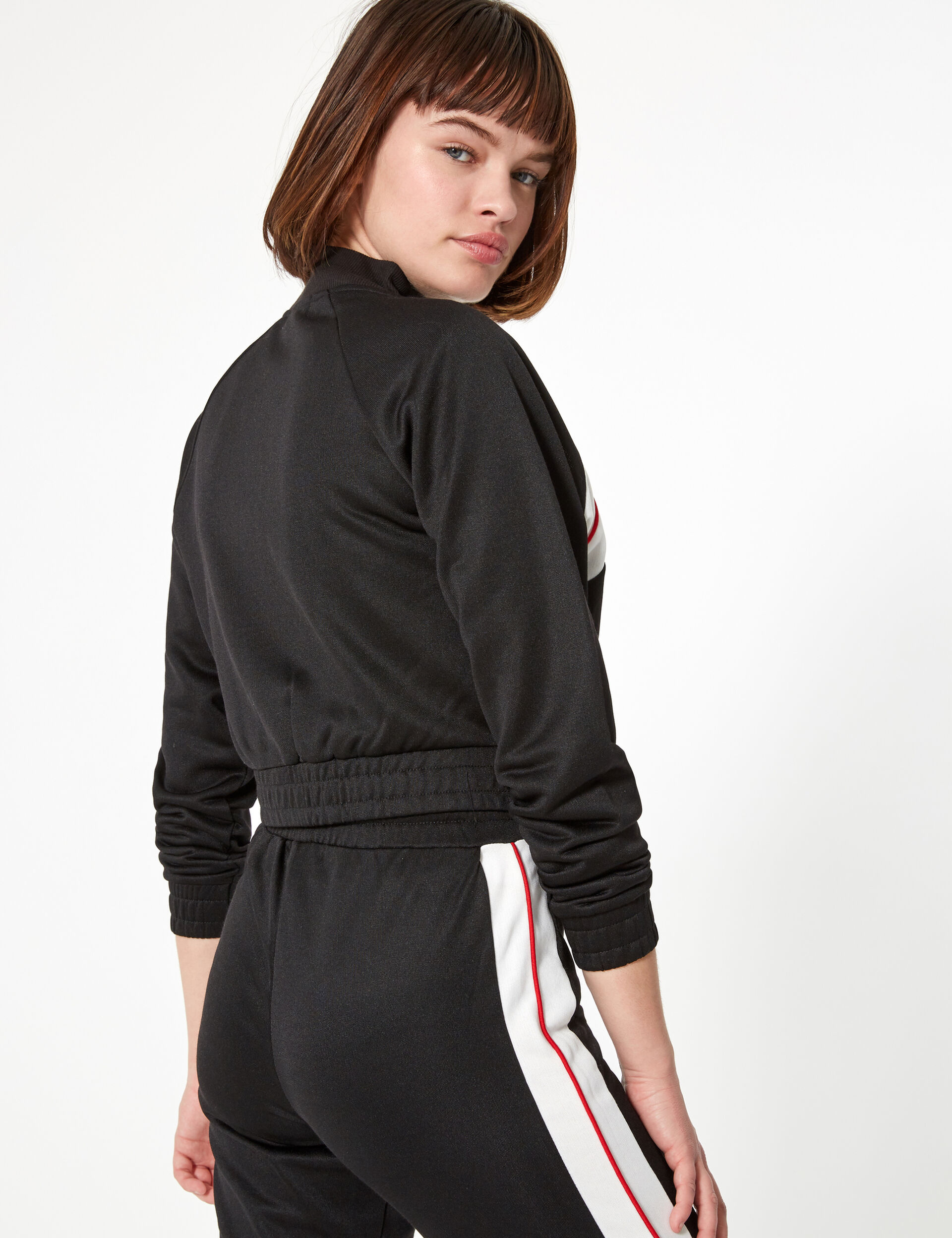 Black zip-up jogging jacket