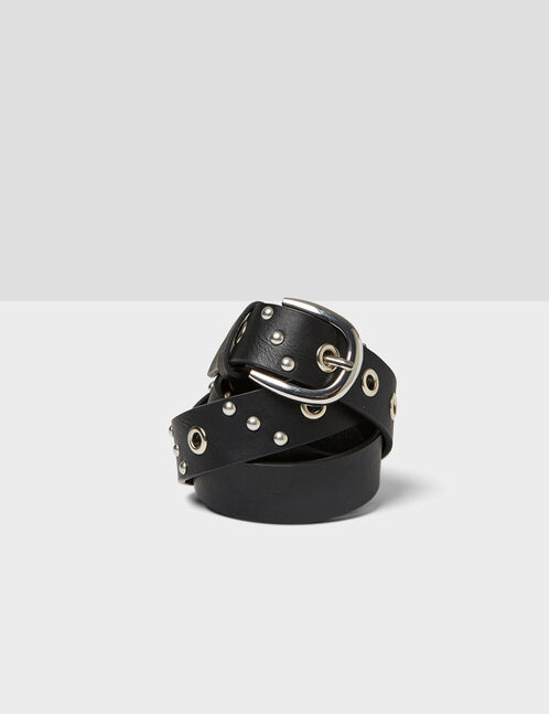 Black belt with eyelet and stud detail