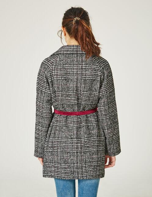 Black and cream Jacquard wool fabric coat