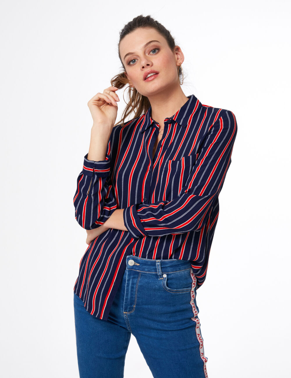 Navy Blue Red And White Striped Shirt Woman Jennyfer Tendencies Chinos Short 30