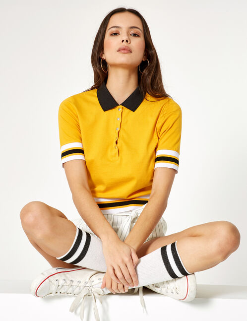 Ochre and black polo shirt-style T-shirt