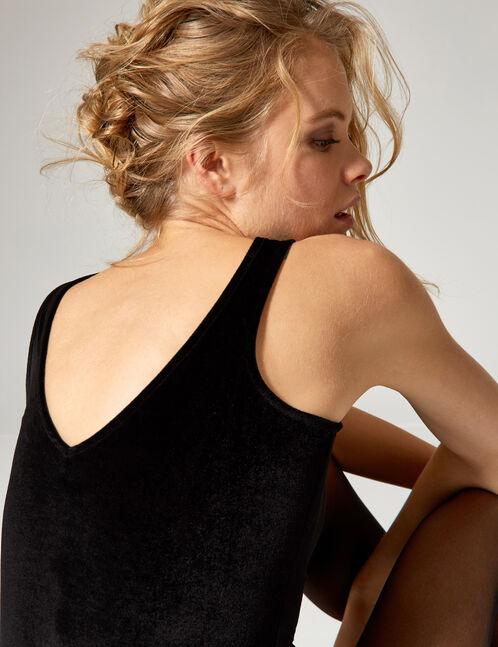 Black velvet bodysuit with rhinestone detail