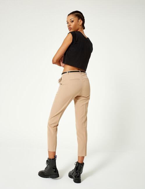 pantalon ville avec ceinture beige