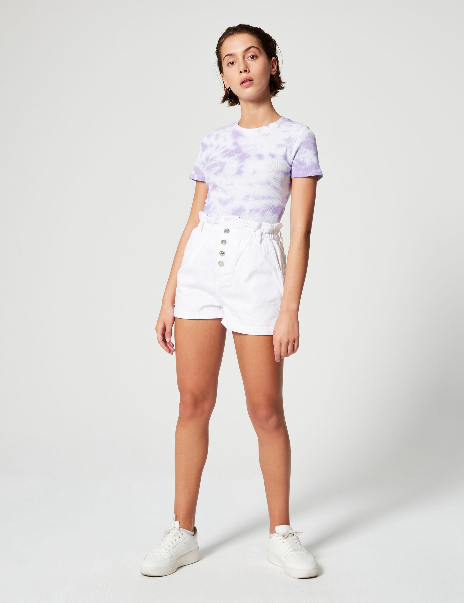 Denim shorts with gathered waist