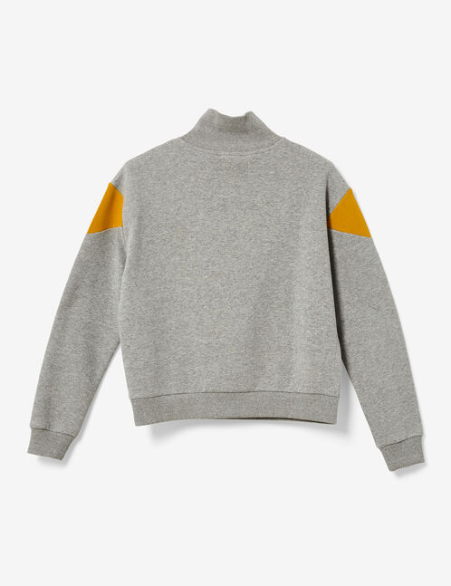 sweat chevrons avec zip gris chiné, ocre et blanc