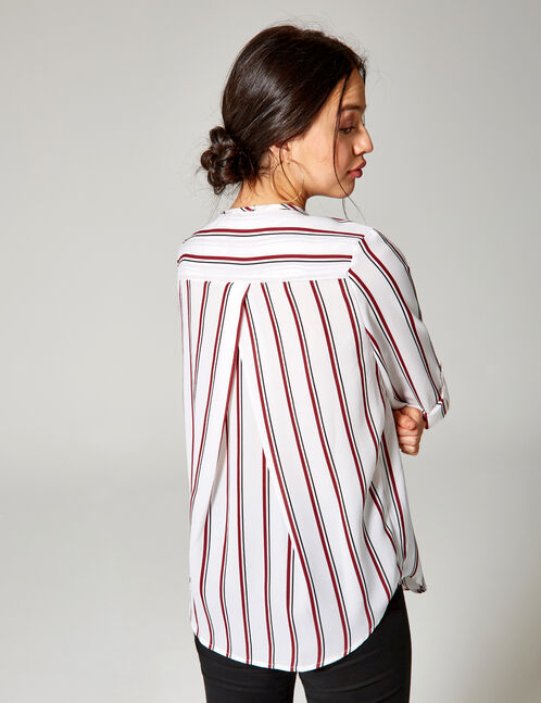 White, burgundy and blue striped blouse