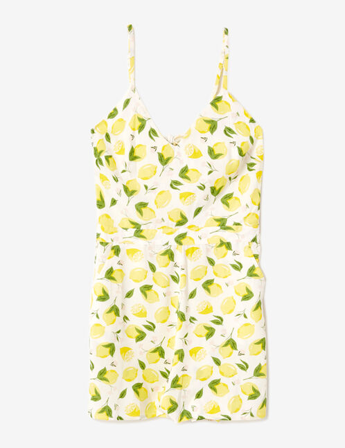 Yellow and cream playsuit with lemon print