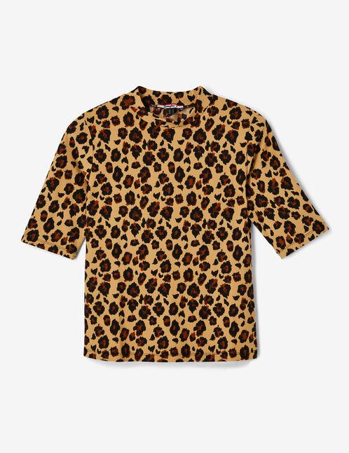 tee-shirt léopard beige et noir