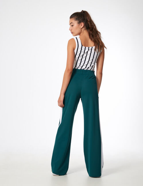 Green wide-leg trousers with stripe detail