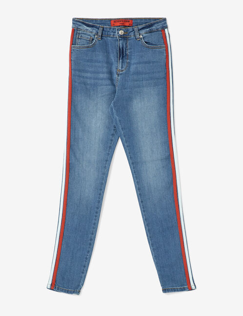 Blue, red and white jeans with side trim detail