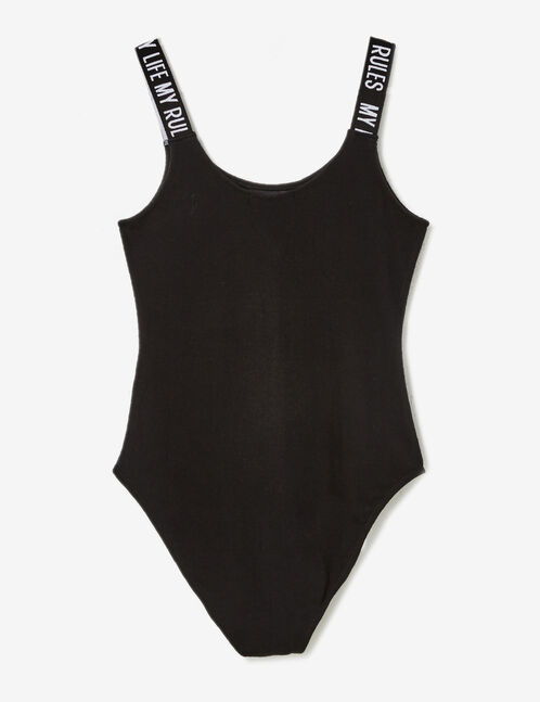 Black fitness bodysuit with text design detail
