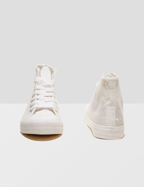 baskets montantes en résille blanches