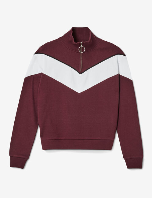 Plum and white zipped sweatshirt with chevron detail