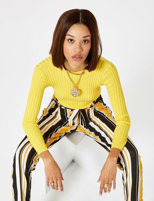 pull côtelé jaune clair