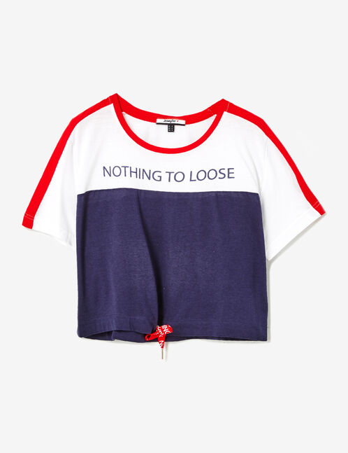 """Navy blue, white and red """"nothing to lose"""" T-shirt"""