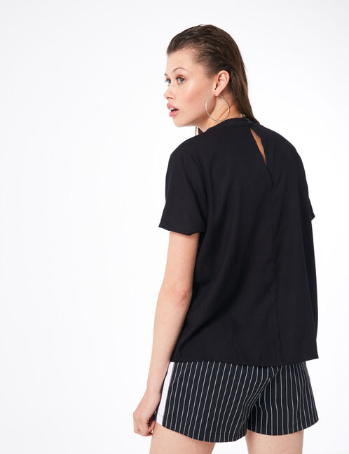 Black blouse with open detail