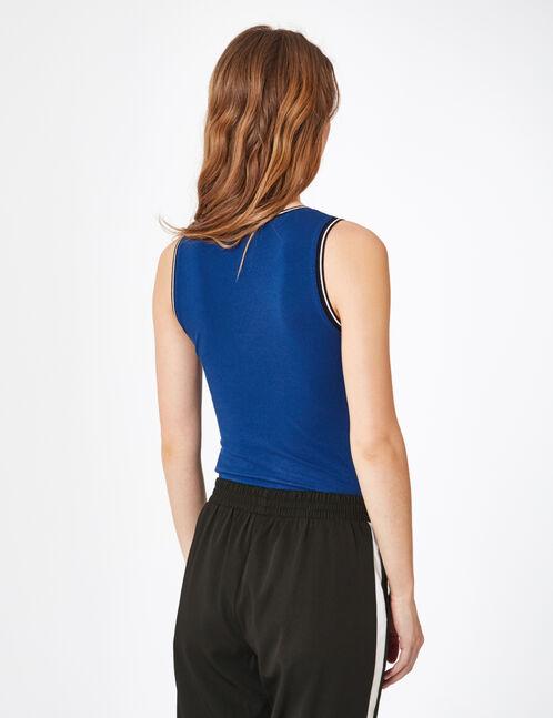 Blue bodysuit with text design detail