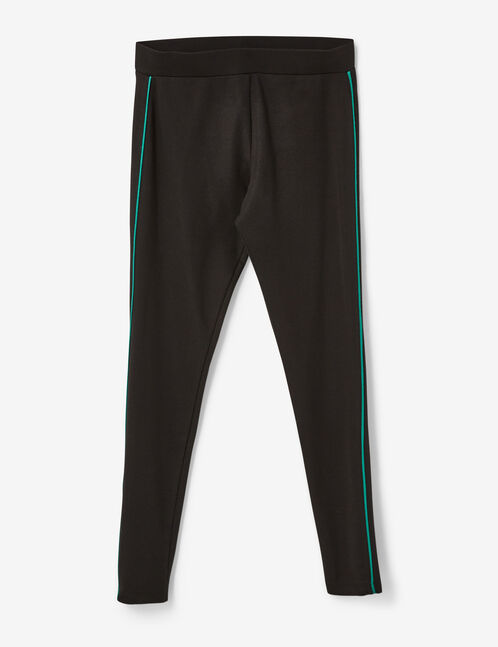 Black and green leggings with thin stripe detail