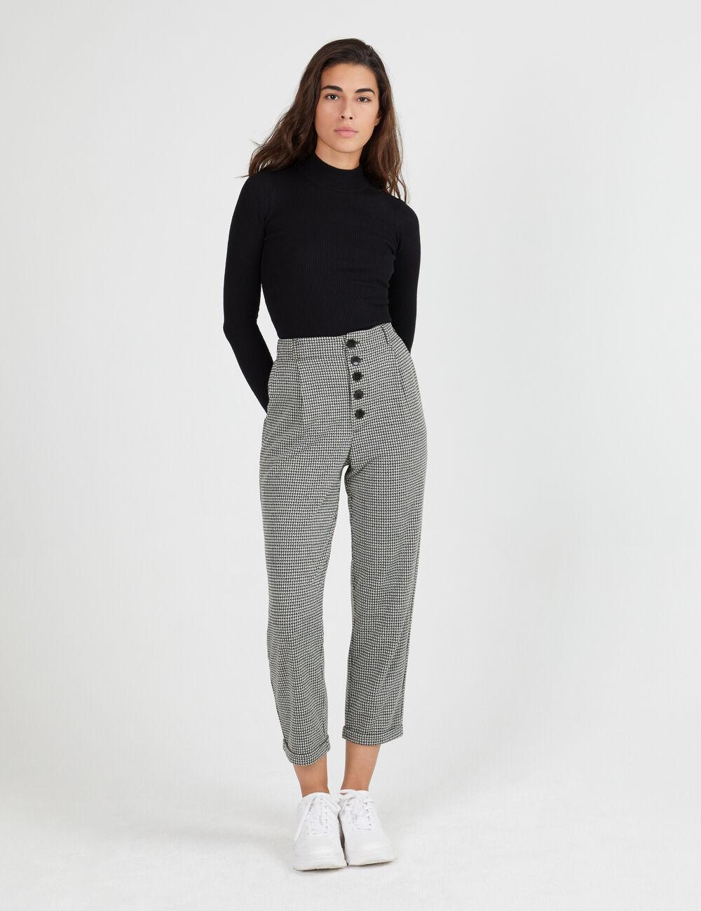 pantalon pied de poule noir et cru femme jennyfer. Black Bedroom Furniture Sets. Home Design Ideas