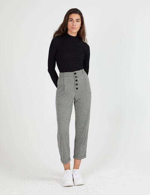 Pantalon Pied De Poule Noir Et Ecru Femme Jennyfer