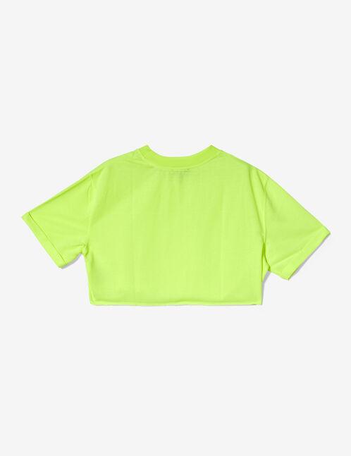 sweat crop manches courtes jaune fluo