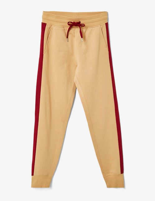 Beige and burgundy joggers with side stripe detail