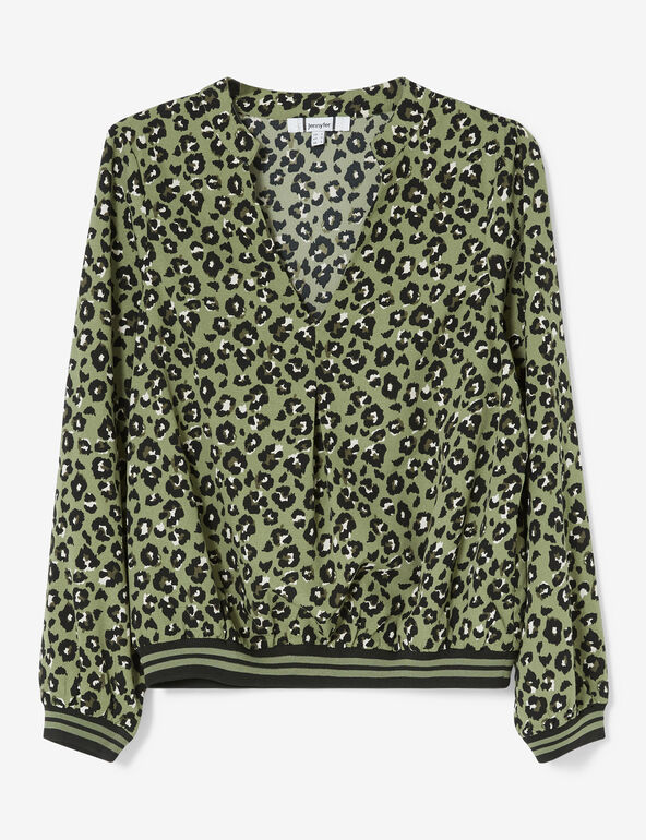 Blouse léopard kaki, noire et blanche