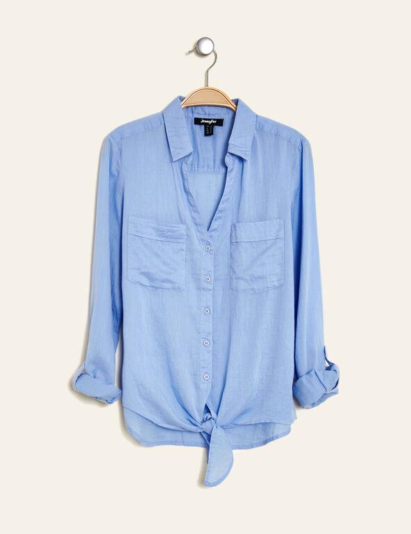 chemise en coton à nouer bleu clair
