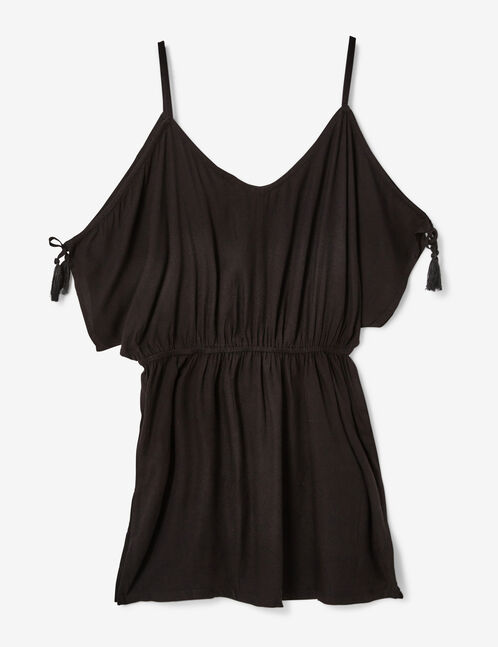 Black floral beach tunic