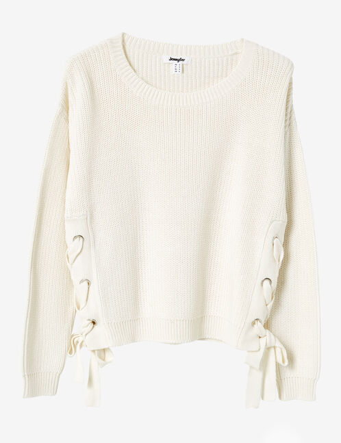 Cream cropped jumper with lacing detail