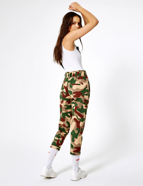Khaki and brown camouflage paperbag trousers