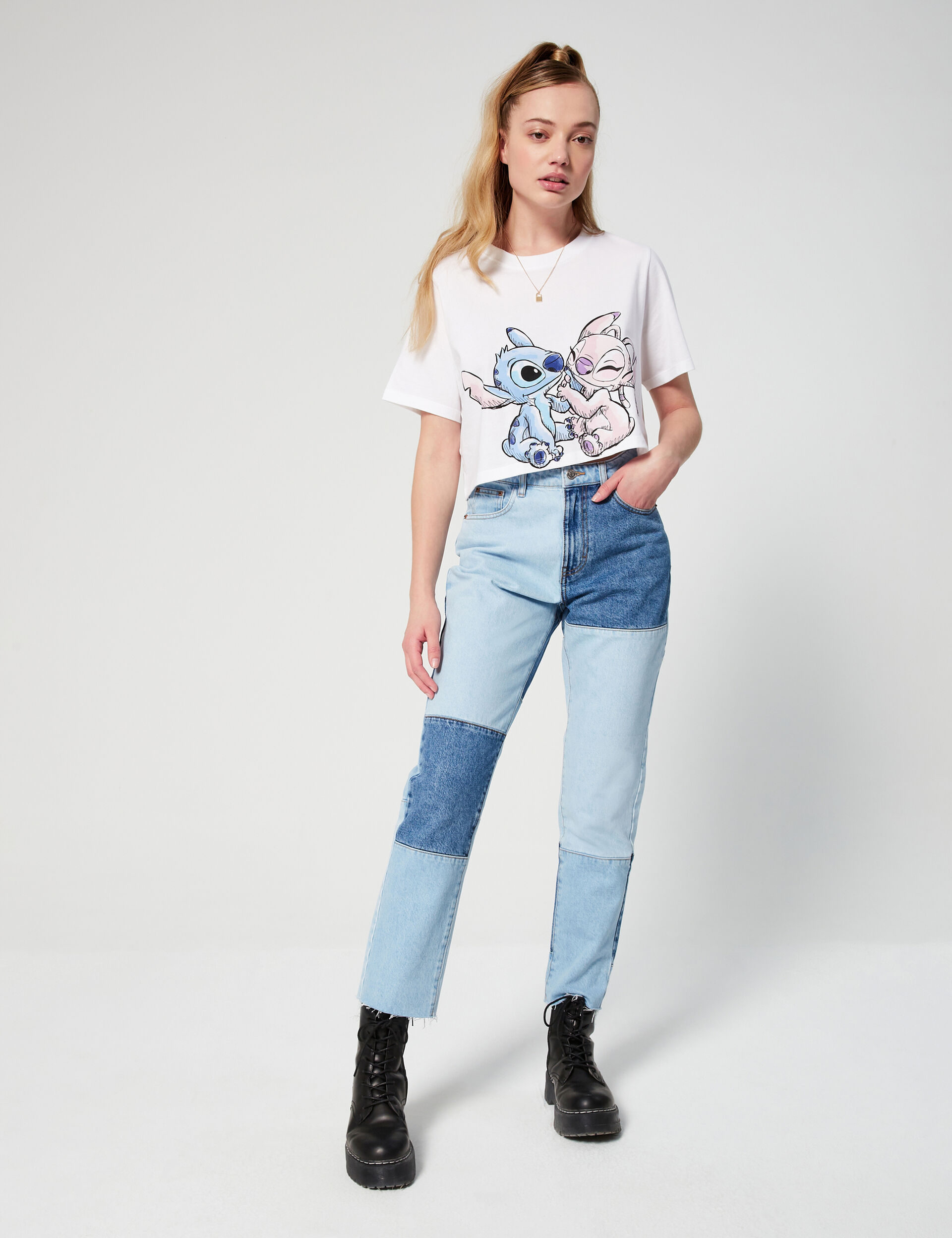Disney Stitch cropped T-shirt