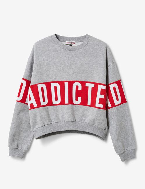 "Grey marl and red ""addicted"" sweatshirt"