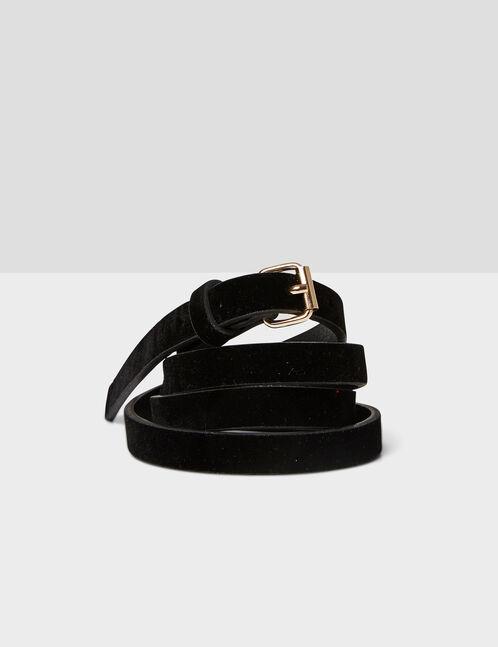 Black skinny faux suede belt