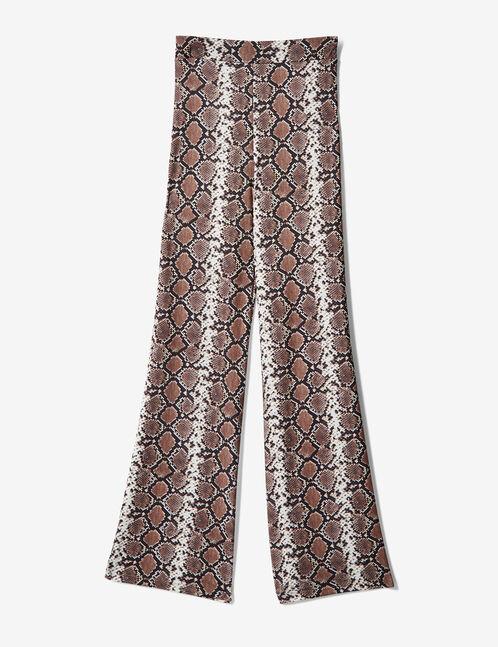 Beige python print trousers