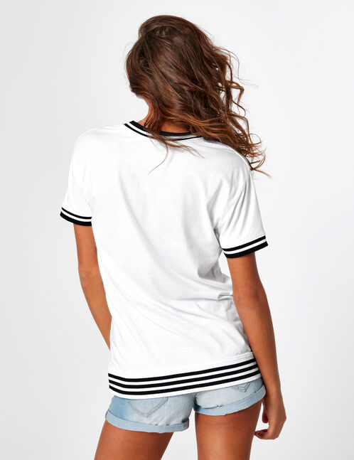 White T-shirt with text design detail
