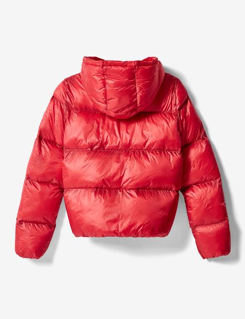 doudoune à capuche rouge