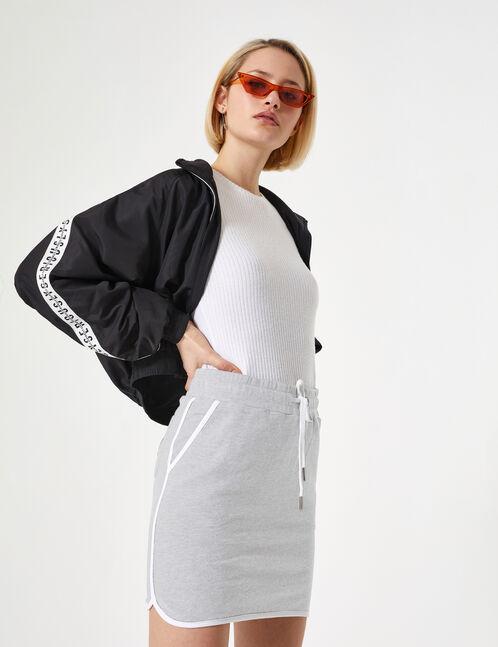 Grey marl jersey skirt