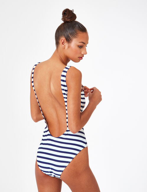 Navy blue and cream striped swimsuit