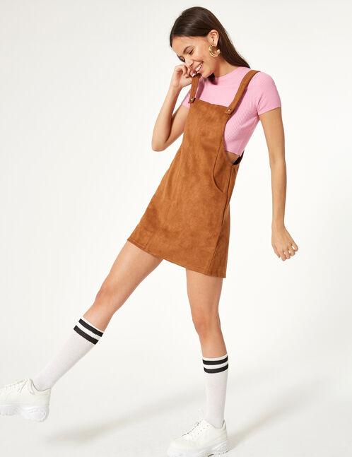 robe salopette suédine marron