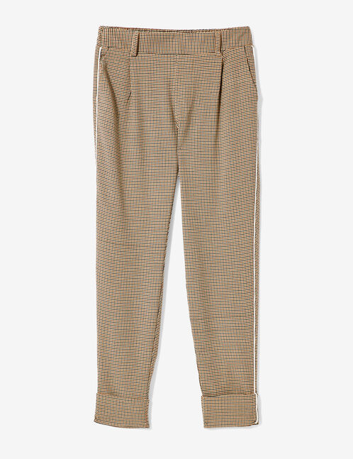 Brown, beige and black puppytooth trousers
