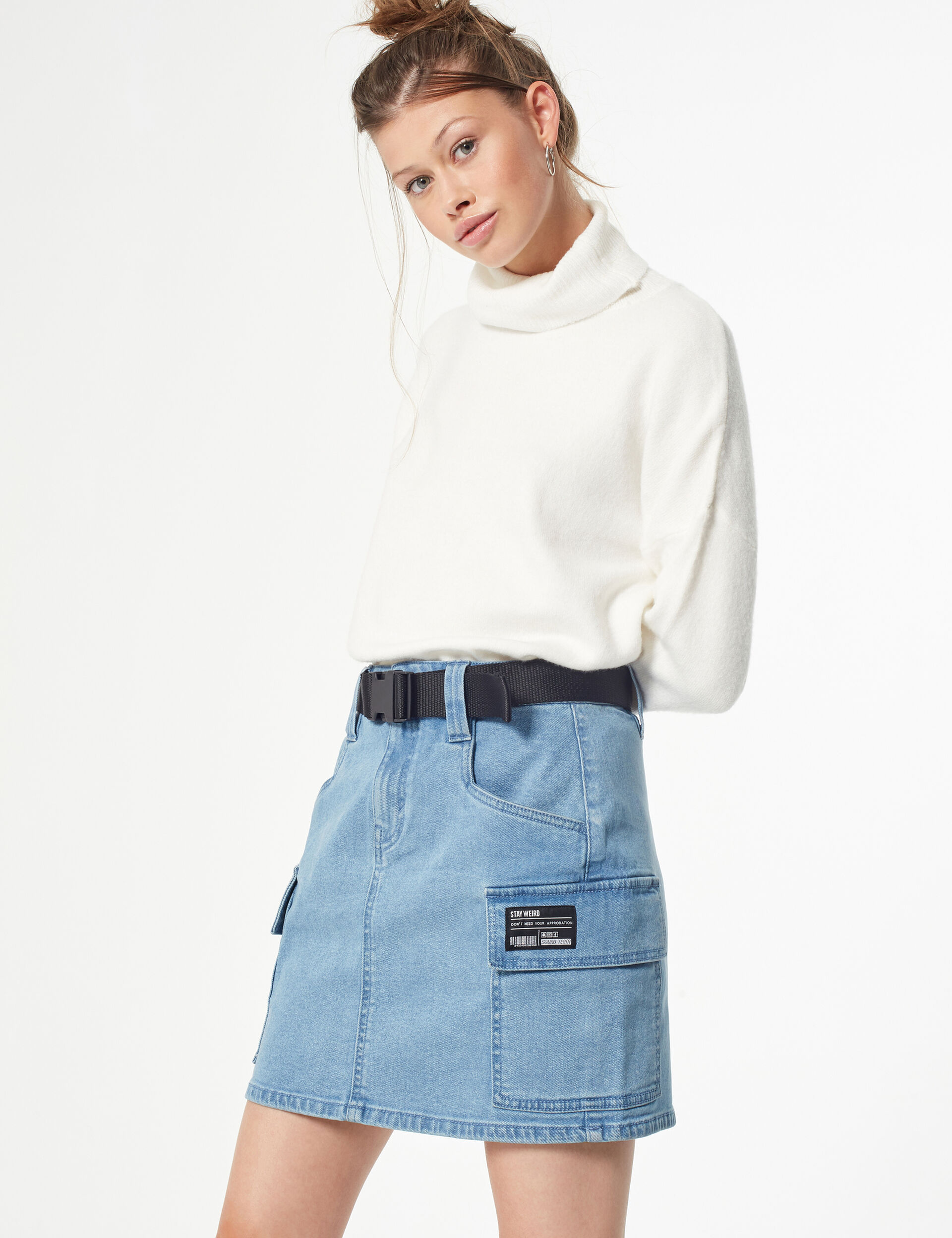Cargo denim skirt